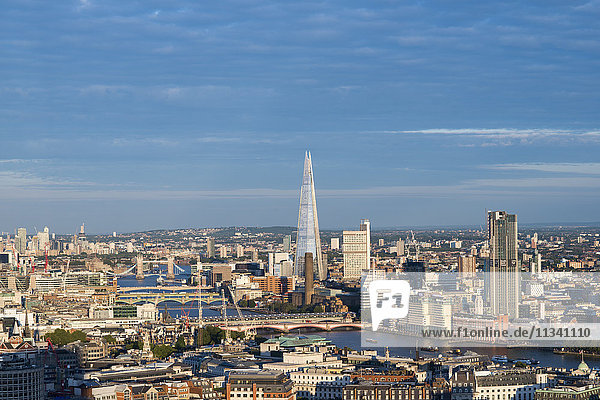 A view of London and the River Thames from the top of Centre Point tower including The Shard  Tate Modern and Tower Bridge  London  England  United Kingdom  Europe