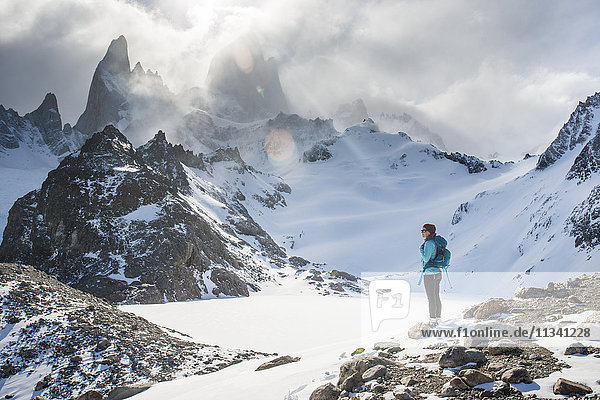 Trekking in El Chalten National Park with views over Laguna Sucia of Mt. Fitzroy and Cerro Torre  Patagonia  Argentina  South America