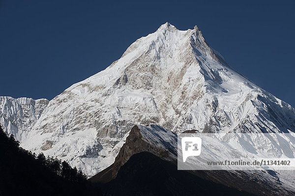 At 8156m  Manaslu is the eighth highest mountain in the world  and a magnificent sight  Nepal  Himalayas  Asia