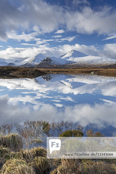 Lochan na Stainge and Black Mount under snow in mid-winter  Argyll and Bute  Scotland  United Kingdom  Europe