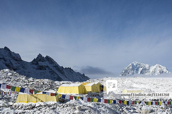Everest Base Camp at the end of the Khumbu glacier lies at 5350m  Khumbu Region  Himalayas  Nepal  Asia