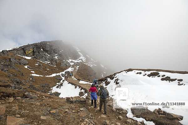 Hiking in the mist on the trail between Sian Gompa and Gosainkund in the Langtang region  Himalayas  Nepal  Asia