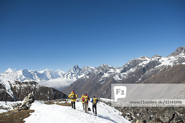 A team of four climbers return to base camp after climbing Ama Dablam in the Nepal Himalayas  Khumbu Region  Nepal  Asia