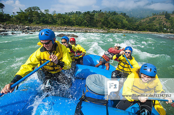 Rafting on the Trisuli River  Nepal  Asia