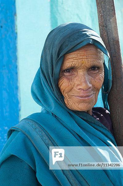 Portrait of an old woman from Uttarakhand (Uttaranchal)  India  Asia