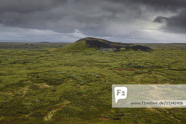 Volcanic crater and moss-covered lava fields on the Snaefellsness Peninsula  Iceland  Polar Regions
