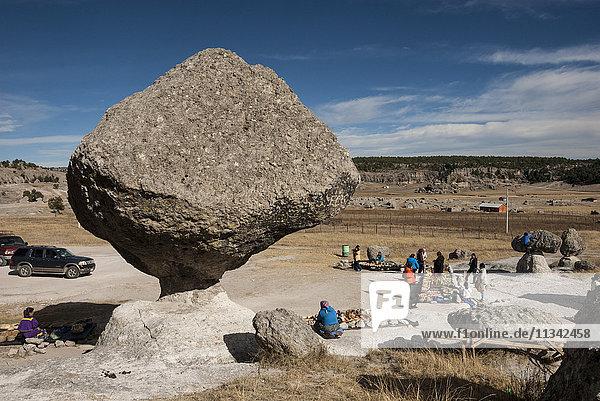Valle de los Hongos (Mushroom Rocks) formed of volcanic ash  Creel  Chihuahua  Mexico  North America
