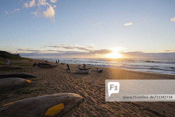 Dugout canoe on the beach  Tamatave  Indian Ocean coast  Madagascar  Africa