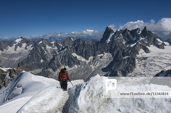 Climbers approaching the Tunnel to the Aiguile du Midi  3842m  Graian Alps  Chamonix  Haute Savoie  French Alps  France  Europe