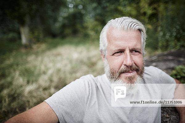 Bearded mature man outdoors