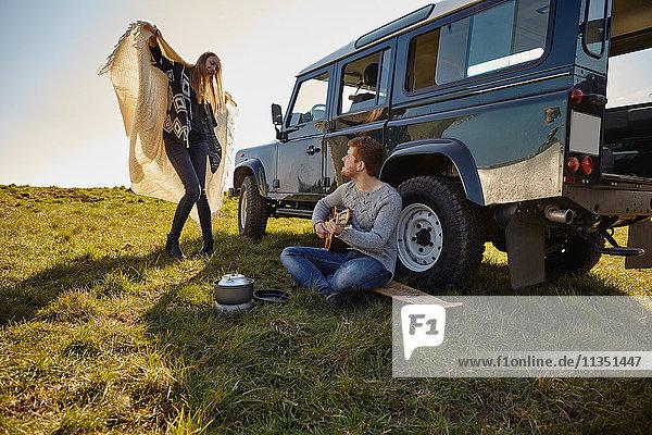 Junges Paar macht Musik auf einer Wiese neben einem Auto