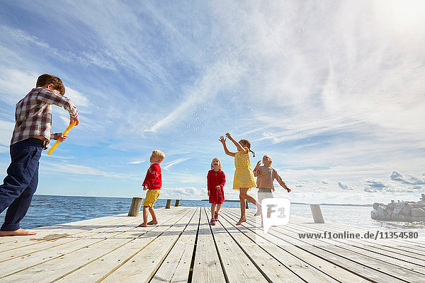 Group of young friends playing on wooden pier