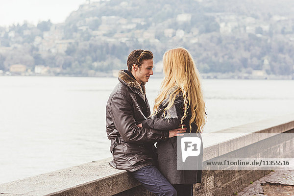 Romantic young couple hugging  Lake Como  Italy