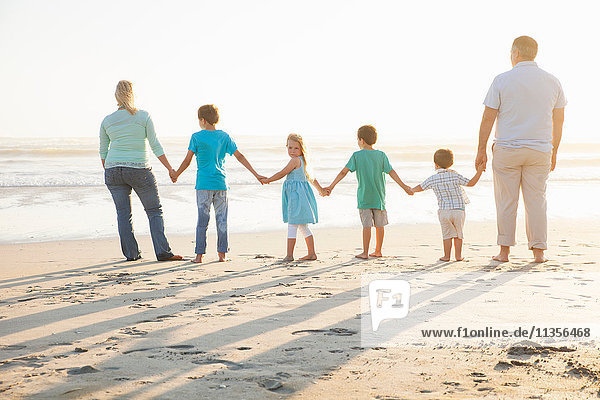 Rear view of family on beach holding hands