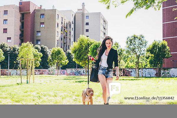 Junge Frau geht Pitbull Terrier im Stadtpark