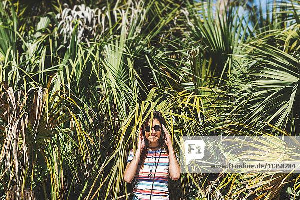 Frau  die sich zwischen Palmwedeln versteckt  Bonita Springs  Florida