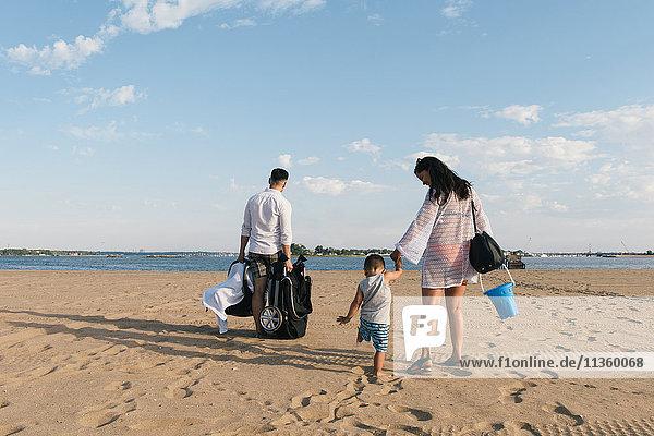 Rückansicht von Eltern  die mit ihrem Kleinkind Sohn am Strand des Pelham Bay Park  Bronx  New York  USA  spazieren gehen