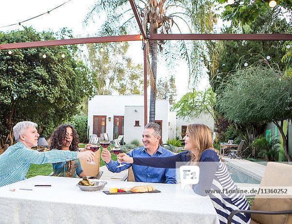 Reife Paare machen einen Rotwein-Toast am Gartentisch