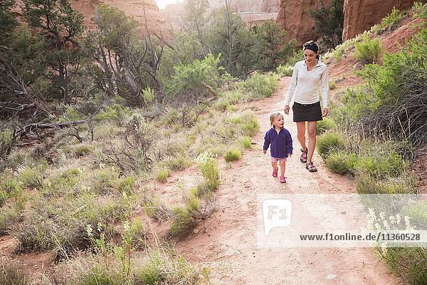Mother and daughter  hiking in Kodachrome Basin State Park  Utah  USA