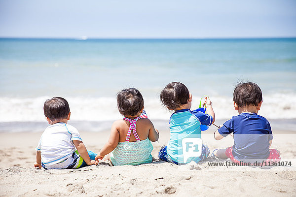 Rear view of baby girl and three baby boys sitting on beach  Malibu  California  USA