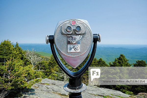 Coin operated binoculars on ridge  Blue Ridge Mountains  North Carolina  USA