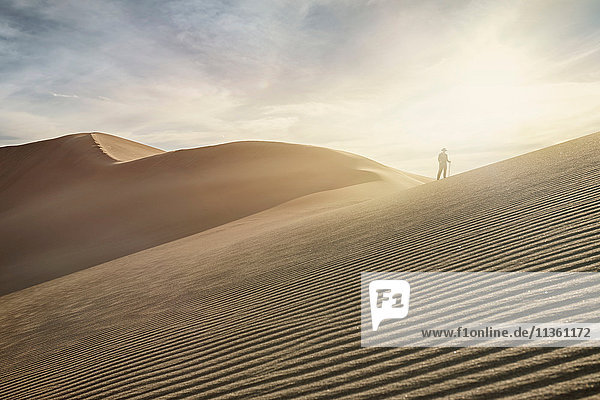 Silhouetted woman on top of dune at Great Sand Dunes National Park  Colorado  USA