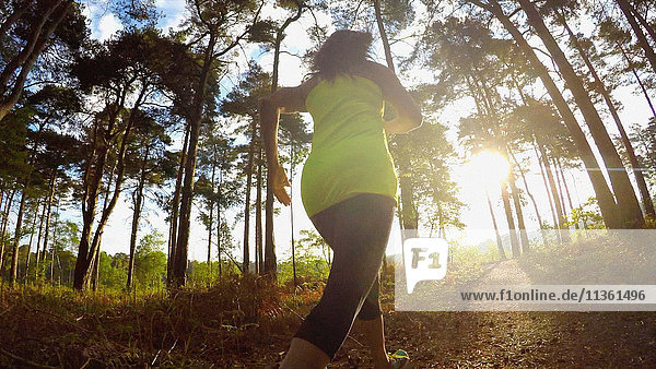 Rear view of woman jogging in forest