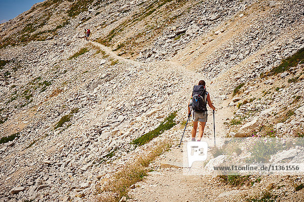Rear view of hiker with walking poles on mountain path  Austria