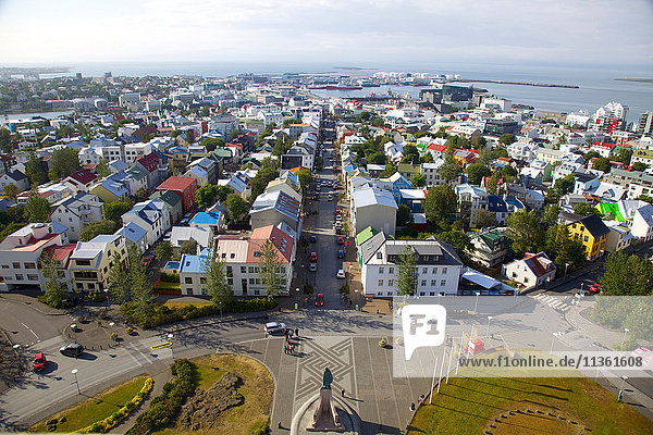 High angle view of building in coastal town  Grindavik  Iceland