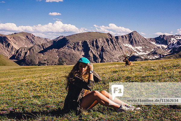 Woman sitting in field with moose  Rocky Mountain National Park  Colorado  USA
