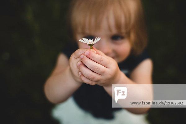 Girl holding up daisy flower smiling