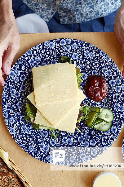 Käse  Salat und Dressing auf Teller  Draufsicht Käse, Salat und Dressing auf Teller, Draufsicht