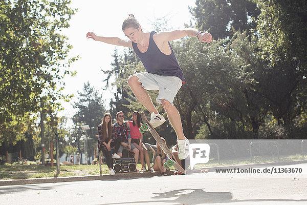 Skateboardfahrer mit Trick  Budapest  Ungarn