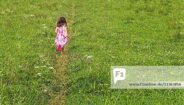 Rückansicht eines Mädchens  das im Feld auf der Bahn läuft