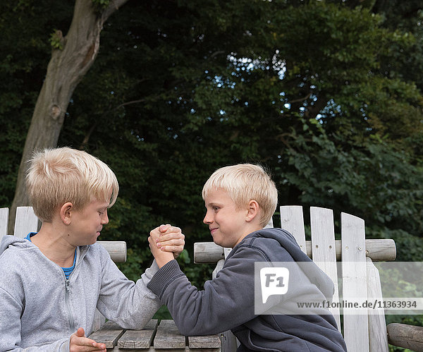 Boys arm wrestling