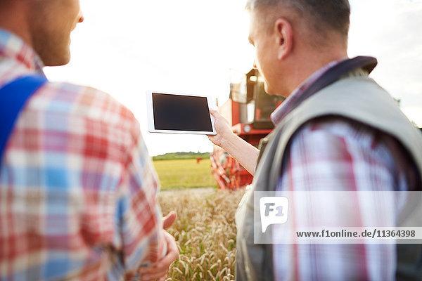 Rückansicht der Bauern im Weizenfeld beim Blick auf die digitale Tablette