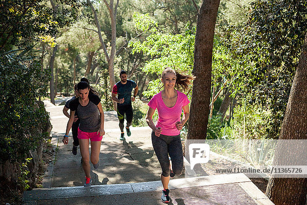 Four male and female runners running in park  Split  Dalmatia  Croatia