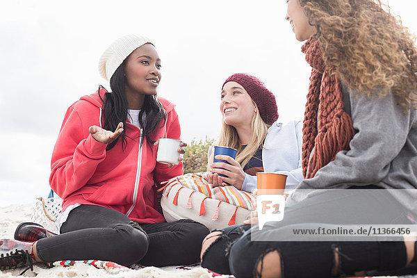 Drei junge Frauen unterhalten sich beim Strandpicknick  Western Cape  Südafrika