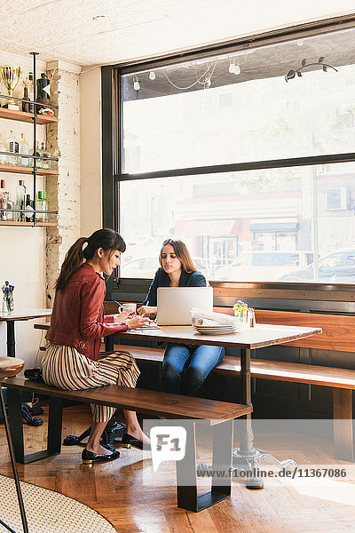 Two young women sitting in restaurant  using laptop