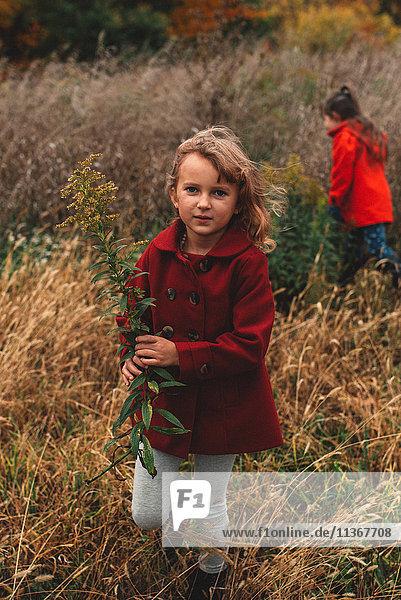 Porträt eines Mädchens und ihrer Schwester beim Pflücken von Wildblumen im Feld