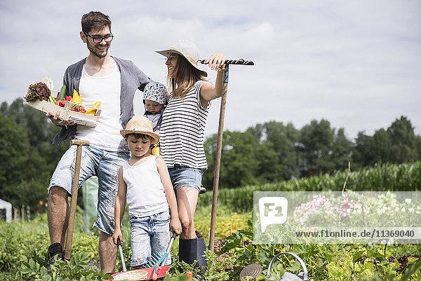 Family harvesting vegetables in community garden