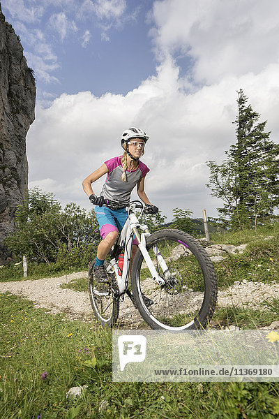 Mountain biker riding on uphill  Kampenwand