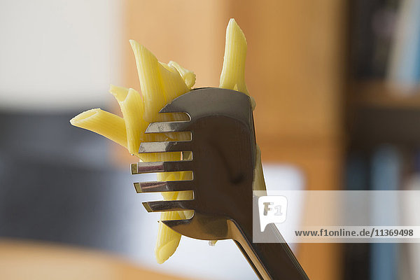 Close-up of pasta with spatula