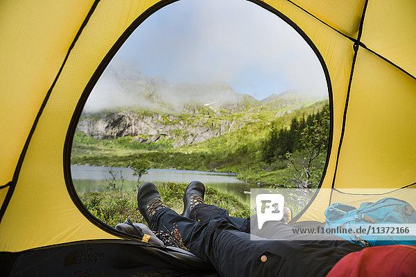 Hiker in tent