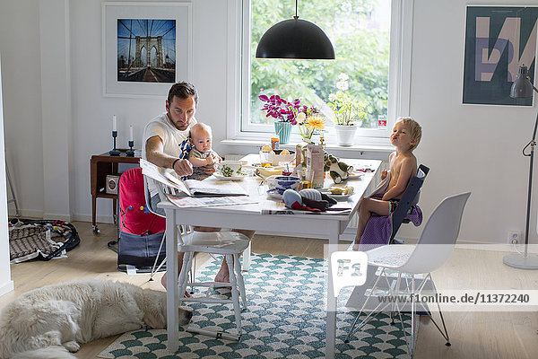 Father with children at home