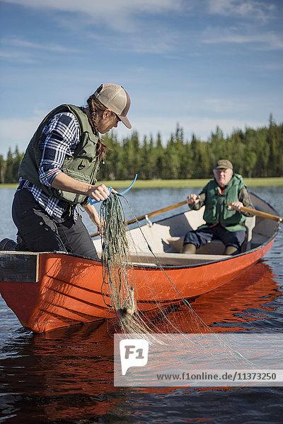 Fishing at lake