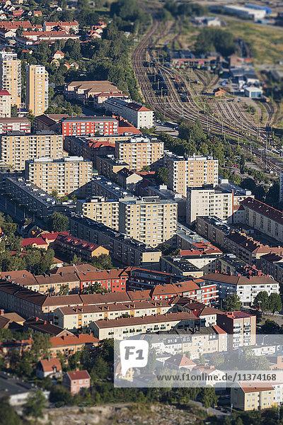 Aerial view of residential buildings