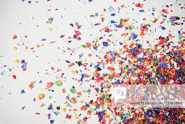 Close up of confetti on white floor