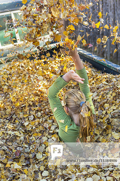 Caucasian girl playing in autumn leaves