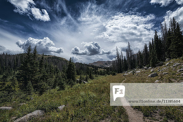 Clouds over trail in rocky landscape
